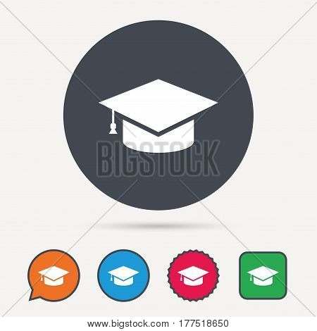 Education icon. Graduation cap symbol. Circle, speech bubble and star buttons. Flat web icons. Vector