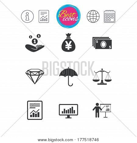 Information, report and calendar signs. Money, cash and finance icons. Money savings, justice scales and report signs. Presentation, analysis and umbrella symbols. Classic simple flat web icons