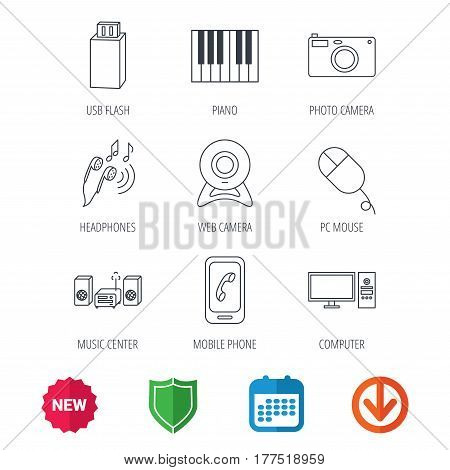 Smartphone, web camera and USB flash icons. Headphones, piano and photo camera linear signs. Computer, music center icons. New tag, shield and calendar web icons. Download arrow. Vector