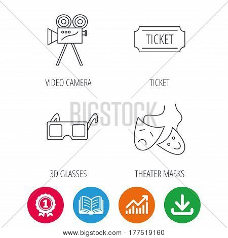 Ticket, video camera and theater masks icons. 3d glasses linear sign. Award medal, growth chart and opened book web icons. Download arrow. Vector