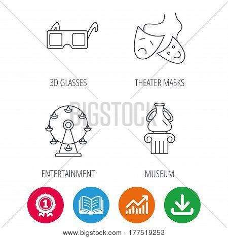 Museum, ferris wheel and theater masks icons. 3d glasses linear sign. Award medal, growth chart and opened book web icons. Download arrow. Vector