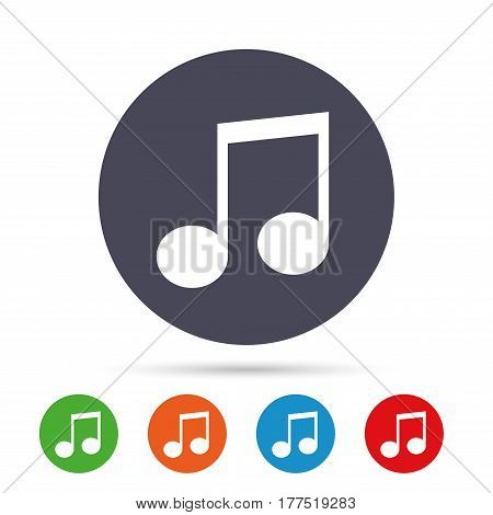 Music note sign icon. Musical symbol. Round colourful buttons with flat icons. Vector