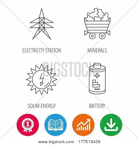 Solar energy, battery and minerals icons. Electricity station linear sign. Award medal, growth chart and opened book web icons. Download arrow. Vector