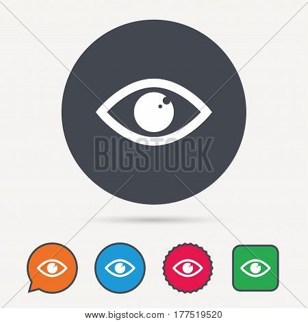 Eye icon. Eyeball vision symbol. Circle, speech bubble and star buttons. Flat web icons. Vector