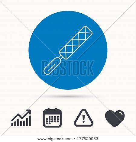 File tool icon. Carpenter equipment sign. Calendar, attention sign and growth chart. Button with web icon. Vector