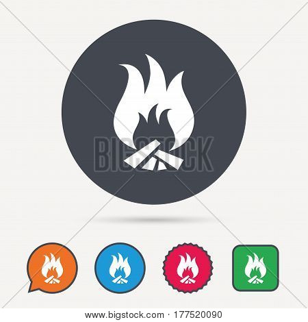 Fire icon. Blazing bonfire flame symbol. Circle, speech bubble and star buttons. Flat web icons. Vector