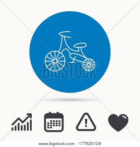 Bike icon. Kids run-bike sign. First bike transport symbol. Calendar, attention sign and growth chart. Button with web icon. Vector
