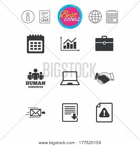 Information, report and calendar signs. Office, documents and business icons. Human resources, handshake and download signs. Chart, laptop and calendar symbols. Classic simple flat web icons. Vector