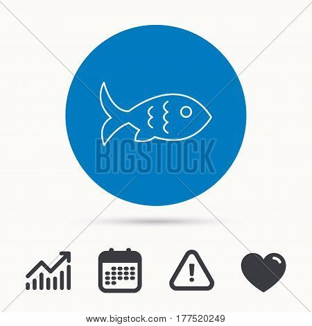 Fish with fin and scales icon. Seafood sign. Vegetarian food symbol. Calendar, attention sign and growth chart. Button with web icon. Vector