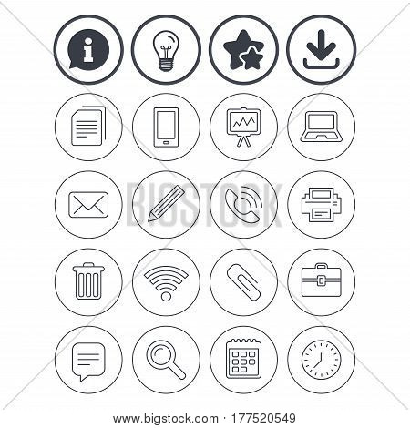 Information, light bulb and download signs. Office equipment icons. Computer, printer and smartphone. Wi-fi, chat speech bubble and copy documents. Vector