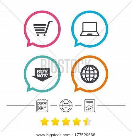 Online shopping icons. Notebook pc, shopping cart, buy now arrow and internet signs. WWW globe symbol. Calendar, internet globe and report linear icons. Star vote ranking. Vector