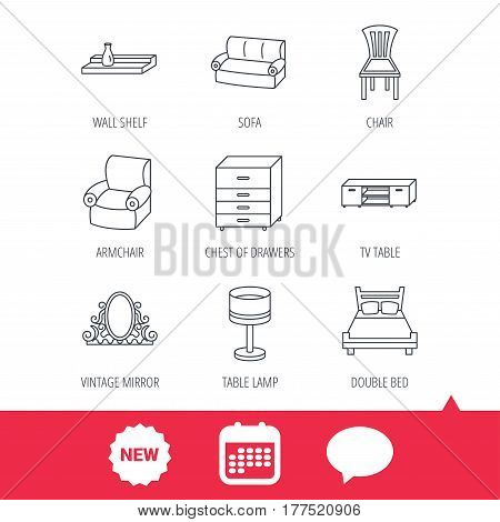 Double bed, table lamp and armchair icons. Chair, lamp and vintage mirror linear signs. Wall shelf, sofa and chest of drawers furniture icons. New tag, speech bubble and calendar web icons. Vector