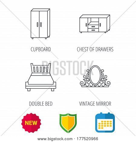 Double bed, vintage mirror and cupboard icons. Chest of drawers linear sign. Shield protection, calendar and new tag web icons. Vector