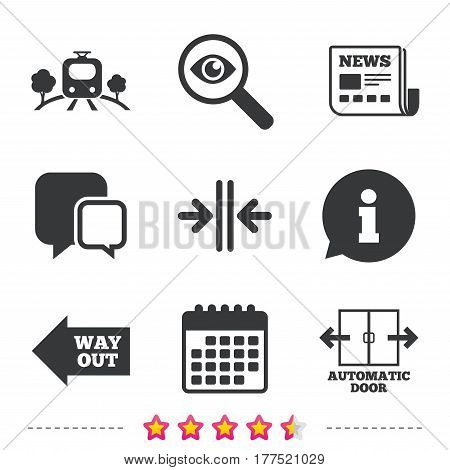 Train railway icon. Overground transport. Automatic door symbol. Way out arrow sign. Newspaper, information and calendar icons. Investigate magnifier, chat symbol. Vector