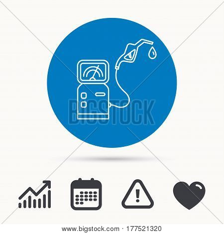 Gas station icon. Petrol fuel pump sign. Calendar, attention sign and growth chart. Button with web icon. Vector