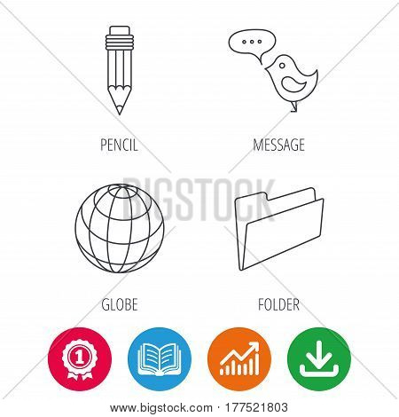 Pencil, message and world globe icons. Folder linear sign. Award medal, growth chart and opened book web icons. Download arrow. Vector