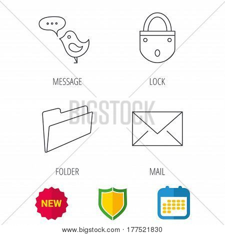 Lock, folder hand and e-mail icons. Bird message linear sign. Shield protection, calendar and new tag web icons. Vector