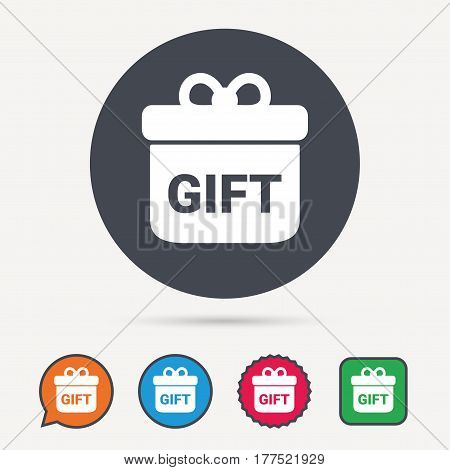 Gift icon. Present box with bow symbol. Circle, speech bubble and star buttons. Flat web icons. Vector