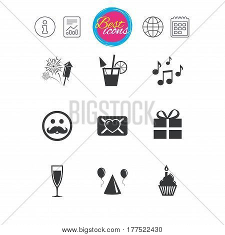 Information, report and calendar signs. Party celebration, birthday icons. Musical notes, air balloon and champagne glass signs. Gift box, fireworks and cocktail symbols. Classic simple flat web icons