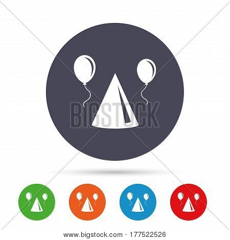Party hat sign icon. Birthday celebration symbol. Air balloon with rope. Round colourful buttons with flat icons. Vector