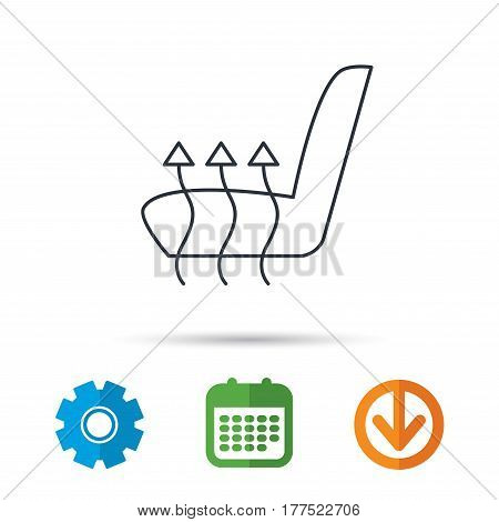 Heated seat icon. Warm autoarmchair sign. Calendar, cogwheel and download arrow signs. Colored flat web icons. Vector