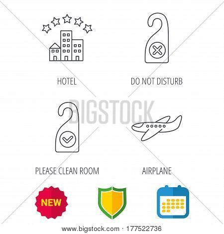 Hotel, airplane and do not disturb icons. Clean room linear sign. Shield protection, calendar and new tag web icons. Vector