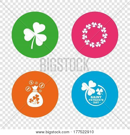 Saint Patrick day icons. Money bag with clover sign. Wreath of trefoil shamrock clovers. Symbol of good luck. Round buttons on transparent background. Vector