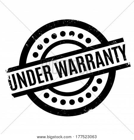 Under Warranty rubber stamp. Grunge design with dust scratches. Effects can be easily removed for a clean, crisp look. Color is easily changed.