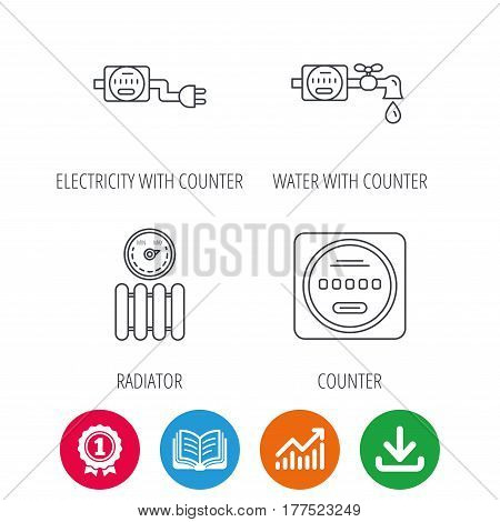 Electricity, radiator and water counter icons. Counter linear sign. Award medal, growth chart and opened book web icons. Download arrow. Vector