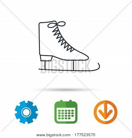 Ice skates icon. Figure skating equipment sign. Professional winter sport symbol. Calendar, cogwheel and download arrow signs. Colored flat web icons. Vector