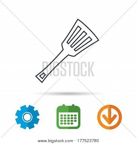 Kitchen utensil icon. Kitchenware spatula sign. Cooking tool symbol. Calendar, cogwheel and download arrow signs. Colored flat web icons. Vector