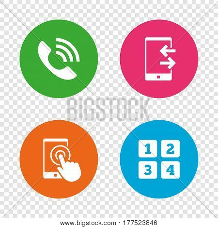 Phone icons. Touch screen smartphone sign. Call center support symbol. Cellphone keyboard symbol. Incoming and outcoming calls. Round buttons on transparent background. Vector