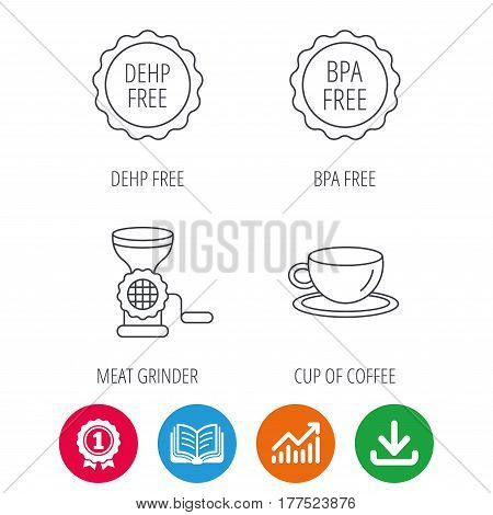 Coffee cup, meat grinder and BPA free icons. DEHP free linear sign. Award medal, growth chart and opened book web icons. Download arrow. Vector