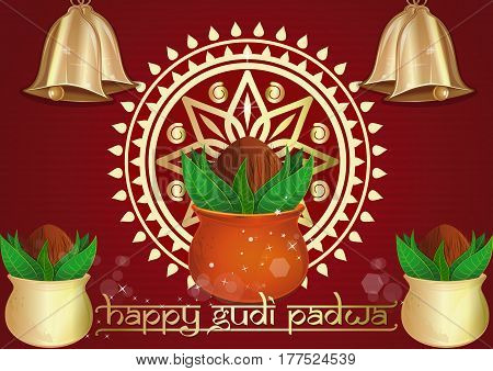 Happy Gudi Padwa. Festive red background with golden Kalash, golden Rongali and golden bells for Gudi Padwa and Ugadi. Vector illustration