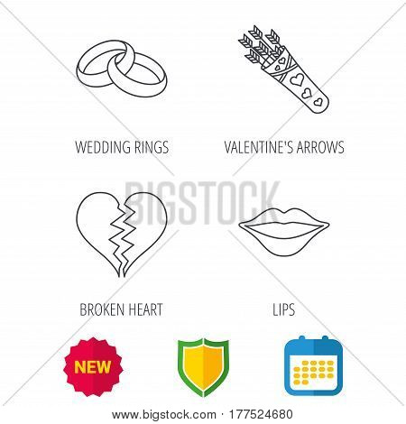 Broken heart, kiss and wedding rings icons. Valentine amour arrows linear sign. Shield protection, calendar and new tag web icons. Vector