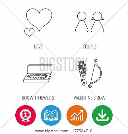 Love heart, jewelry and couple icons. Valentine amour arrows linear signs. Award medal, growth chart and opened book web icons. Download arrow. Vector