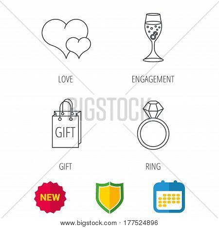 Love heart, gift bag and wedding ring icons. Engagement linear sign. Shield protection, calendar and new tag web icons. Vector