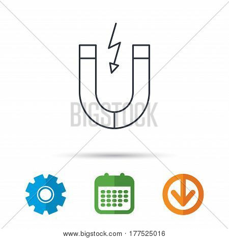 Magnet icon. Magnetic power sign. Physics symbol. Calendar, cogwheel and download arrow signs. Colored flat web icons. Vector