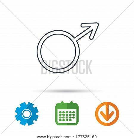 Male icon. Gentlemen sexuality sign. Calendar, cogwheel and download arrow signs. Colored flat web icons. Vector