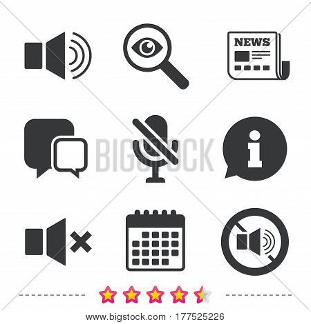 Player control icons. Sound, microphone and mute speaker signs. No sound symbol. Newspaper, information and calendar icons. Investigate magnifier, chat symbol. Vector