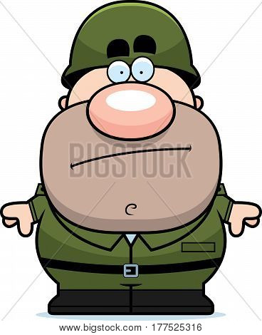 Cartoon Soldier Bored