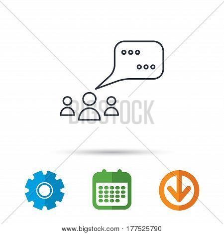 Meeting icon. Chat speech bubbles sign. Speak balloon symbol. Calendar, cogwheel and download arrow signs. Colored flat web icons. Vector