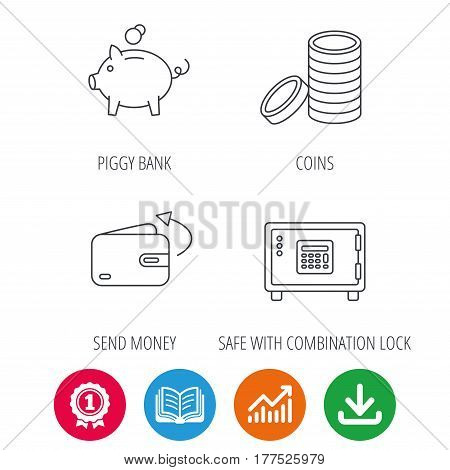 Piggy bank, cash money and wallet icons. Safe box, send money linear signs. Award medal, growth chart and opened book web icons. Download arrow. Vector