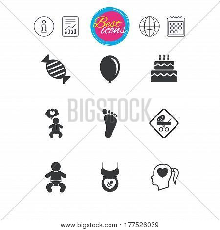 Information, report and calendar signs. Pregnancy, maternity and baby care icons. Candy, strollers and pacifier signs. Footprint, birthday cake and heart symbols. Classic simple flat web icons. Vector