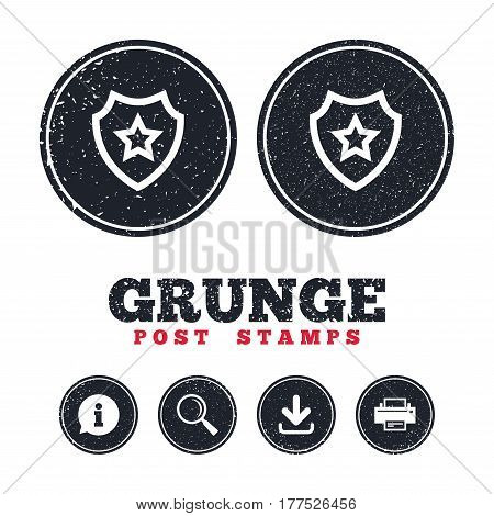 Grunge post stamps. Shield with star icon. Favorite protection symbol. Information, download and printer signs. Aged texture web buttons. Vector