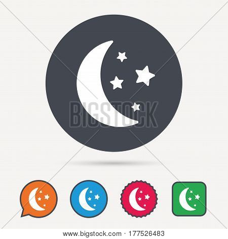 Moon and stars icon. Night sleep symbol. Circle, speech bubble and star buttons. Flat web icons. Vector