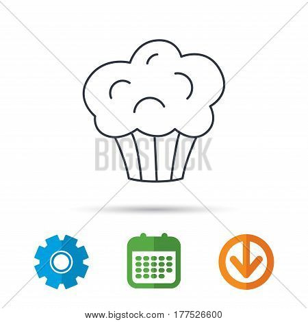 Muffin icon. Cupcake dessert sign. Bakery sweet food symbol. Calendar, cogwheel and download arrow signs. Colored flat web icons. Vector