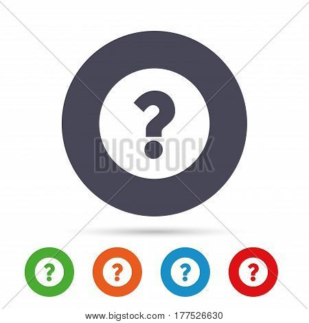 Question mark sign icon. Help symbol. FAQ sign. Round colourful buttons with flat icons. Vector