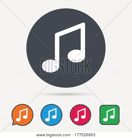Music icon. Musical note sign. Melody symbol. Circle, speech bubble and star buttons. Flat web icons. Vector