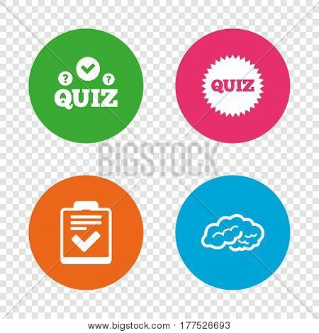 Quiz icons. Human brain think. Checklist symbol. Survey poll or questionnaire feedback form. Questions and answers game sign. Round buttons on transparent background. Vector